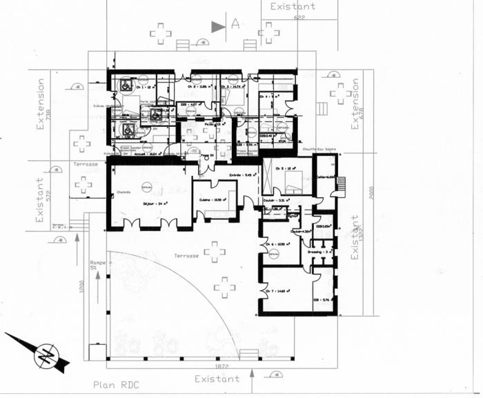 Maison d 39 h tes extension projet en cours saint for Extension maison plan