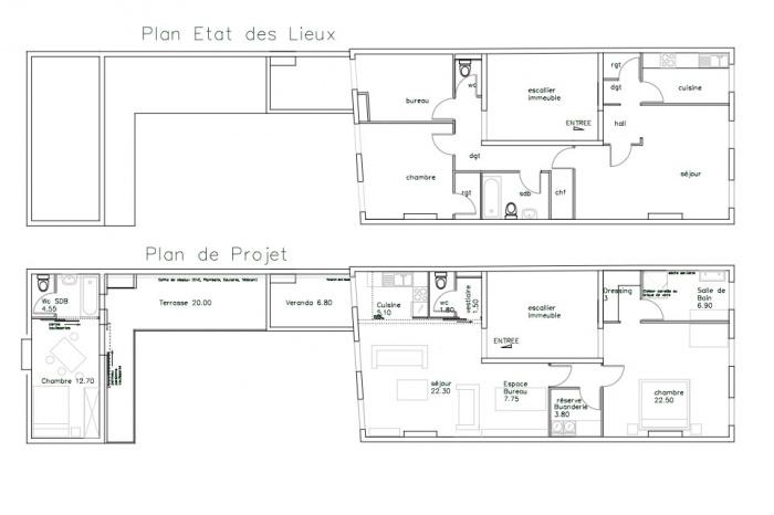 Réaménagement Intérieur dans un Immeuble ancien : appartement-dieude-plan-azzaro-architecte