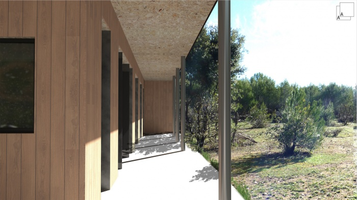 Conception d'une maison contemporaine en bois : maison-contemporaine-bois-perpective-terrasse-coursives