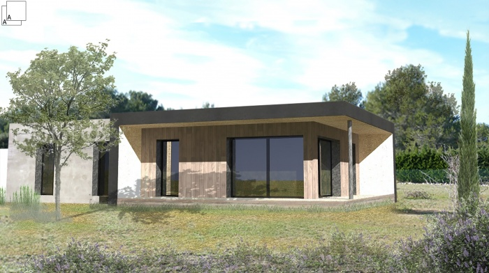 Conception d'une maison contemporaine en bois : villa-contemporaine-maison-bois-architecte--provence-popup-housse-south
